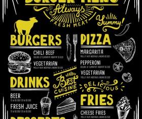 Vintage burger menu template vector material 07
