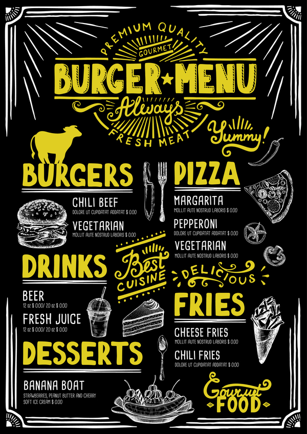 Vintage burger menu template vector material 07