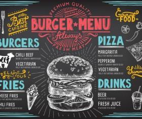 Vintage burger menu template vector material 08