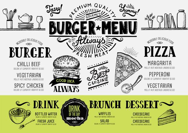 Vintage burger menu template vector material 09