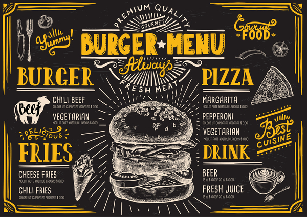 Vintage burger menu template vector material 10