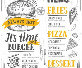 Vintage burger menu template vector material 11