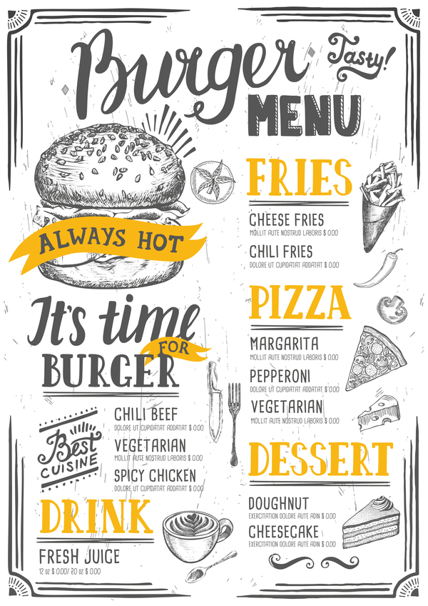 Vintage burger menu template vector material 11
