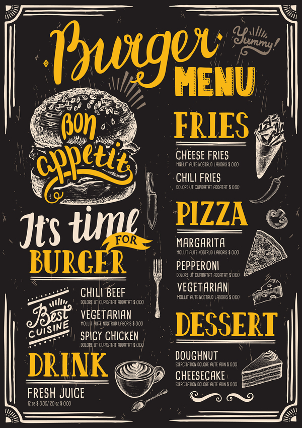 Vintage burger menu template vector material 12