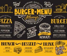 Vintage burger menu template vector material 13