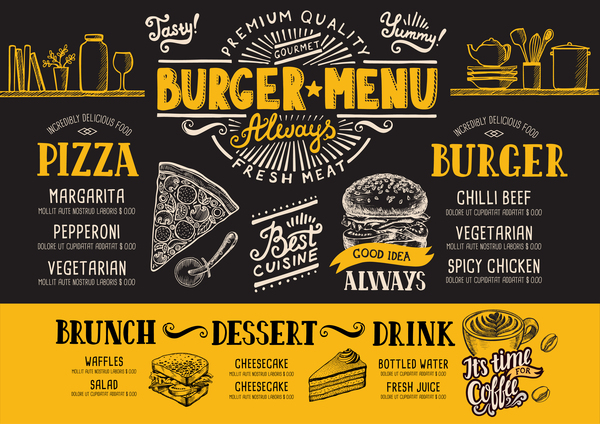 Vintage burger menu template vector material 13