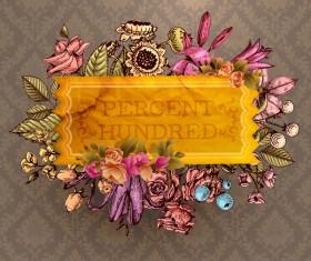 Vintage flower labels with ornate background vector 02
