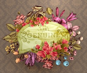 Vintage flower labels with ornate background vector 04
