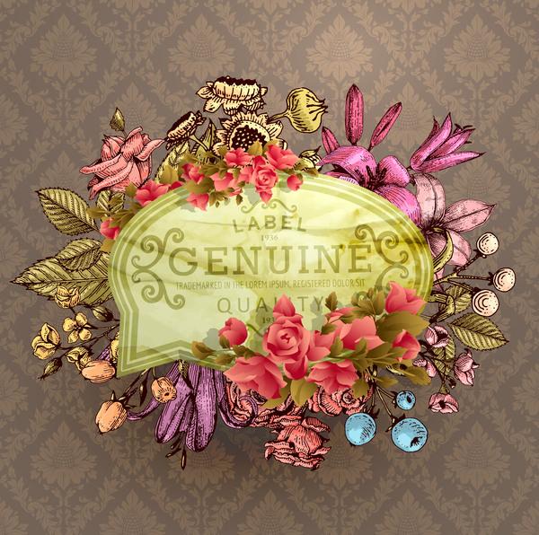 Vintage flower labels with ornate background vector 04