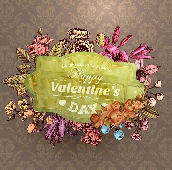 Vintage flower labels with ornate background vector 05