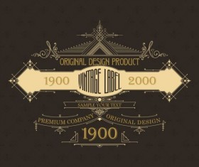 Vintage labels classical styles vectors set 14