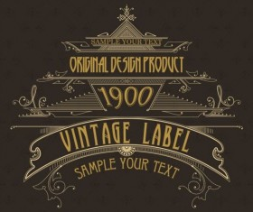 Vintage labels classical styles vectors set 17