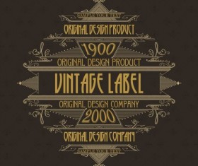Vintage labels classical styles vectors set 22