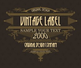 Vintage labels classical styles vectors set 24