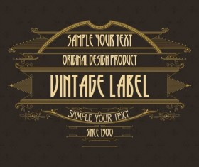 Vintage labels classical styles vectors set 25