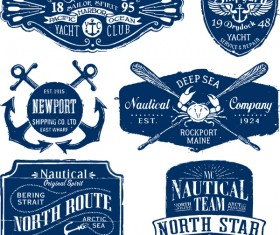 Vintage nautical labels vector set
