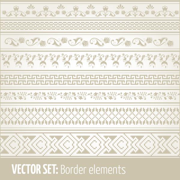 Vintage ornaments borders design set 02