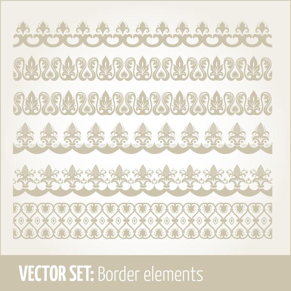 Vintage ornaments borders design set 03