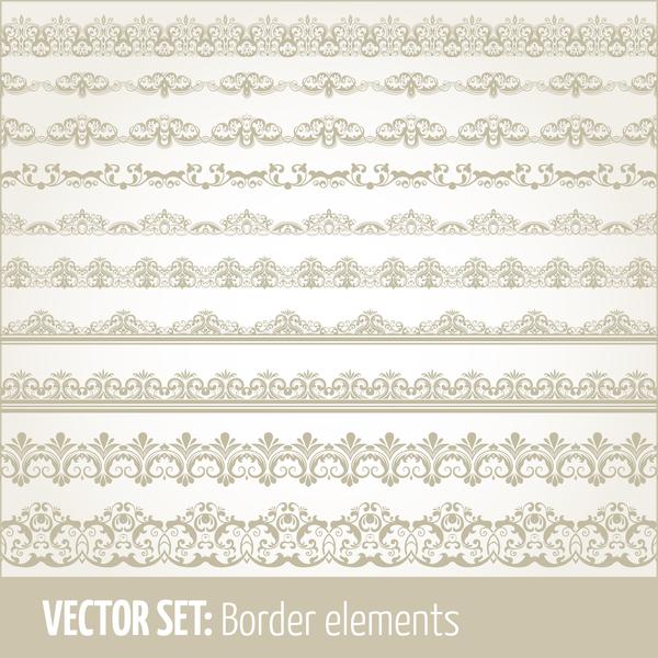 Vintage ornaments borders design set 04