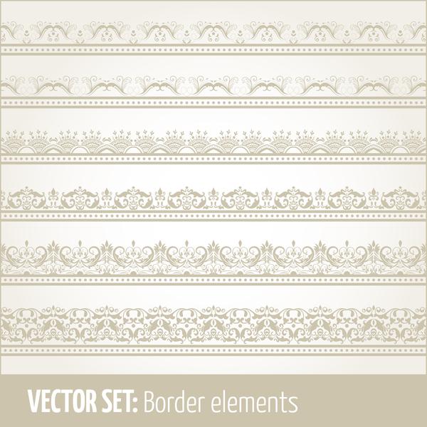 Vintage ornaments borders design set 05