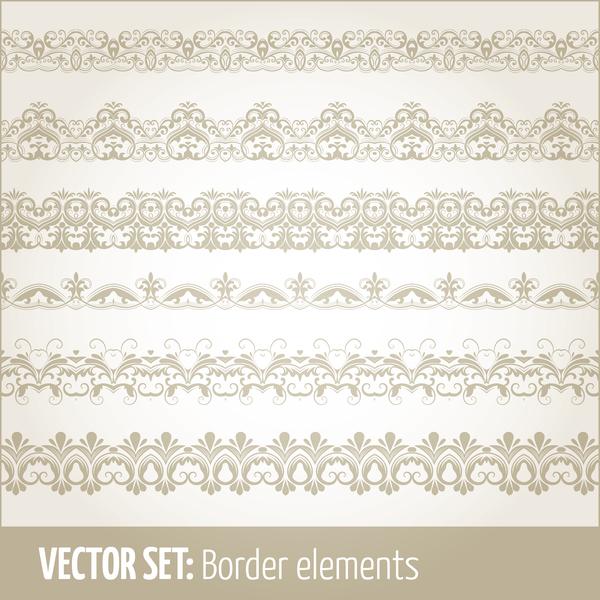 Vintage ornaments borders design set 06