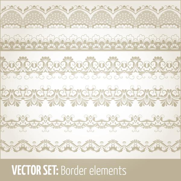Vintage ornaments borders design set 07