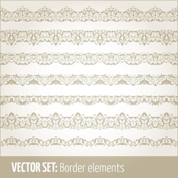 Vintage ornaments borders design set 08