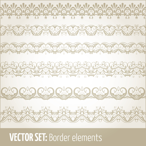 Vintage ornaments borders design set 09