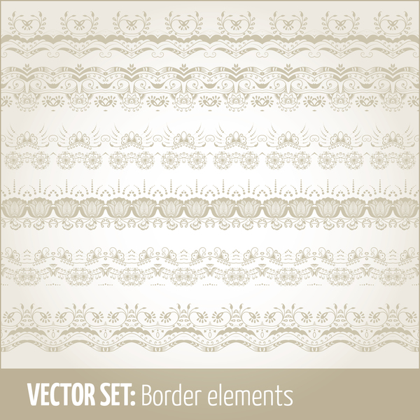 Vintage ornaments borders design set 10