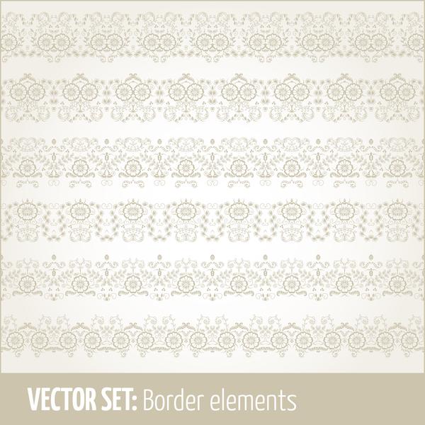 Vintage ornaments borders design set 11