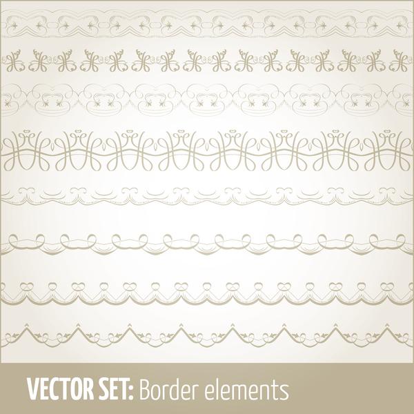 Vintage ornaments borders design set 12