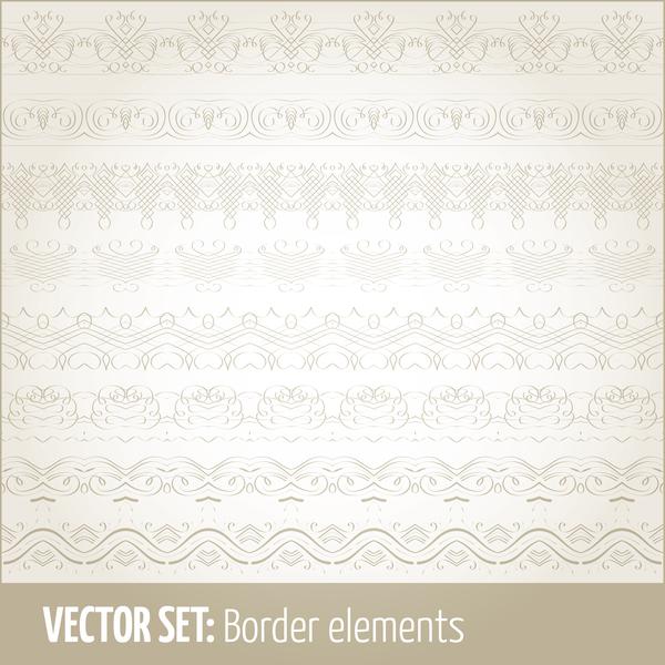 Vintage ornaments borders design set 13