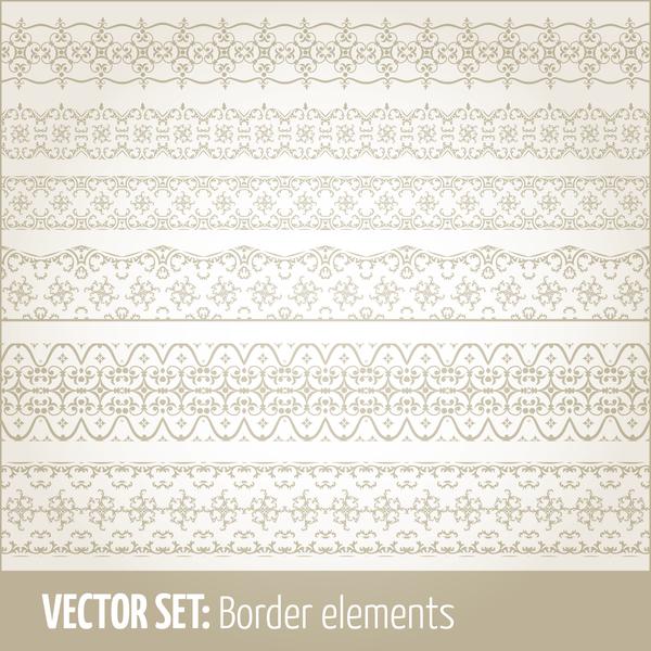 Vintage ornaments borders design set 15