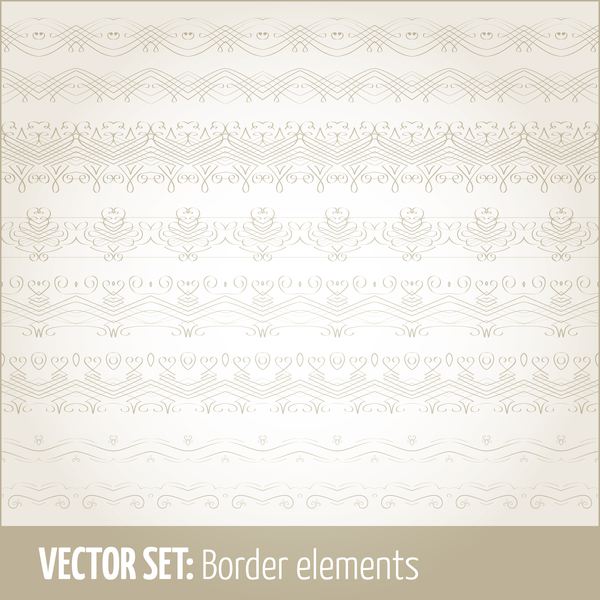 Vintage ornaments borders design set 16