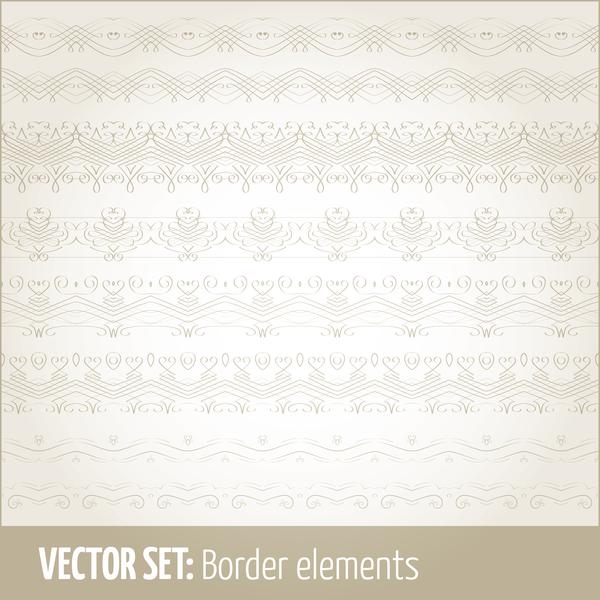 Vintage ornaments borders design set 16