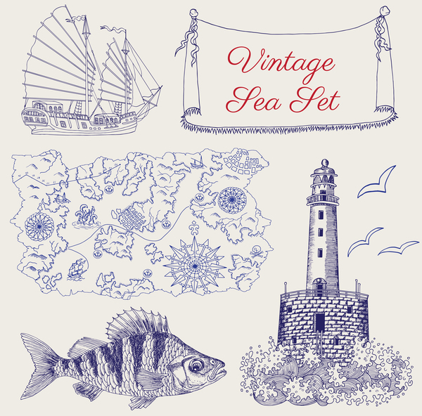Vintage sea set with pirate map fish and light house vector