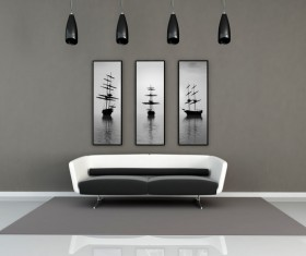 Wall decoration and sofa furnishings Stock Photo