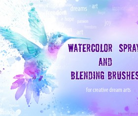 Watercolor spray and blending Photoshop Brushes