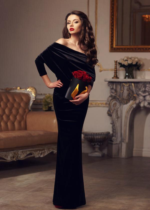 11d6aa63d Wearing a black dress elegant woman HD picture free download