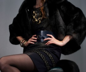 Wearing a black fur female model Stock Photo