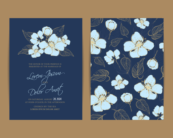 Wedding invitation with navy blue flowers vector 01