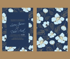 Wedding invitation with navy blue flowers vector 02