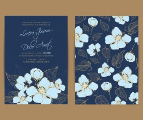 Wedding invitation with navy blue flowers vector 03