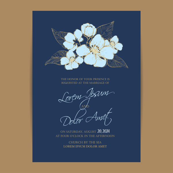 Wedding invitation with navy blue flowers vector 04