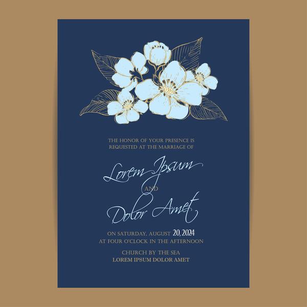 5 Blue Floral Wedding Invitation Card Vector Material: Wedding Invitation With Navy Blue Flowers Vector 04