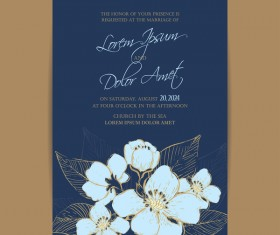 Wedding invitation with navy blue flowers vector 05
