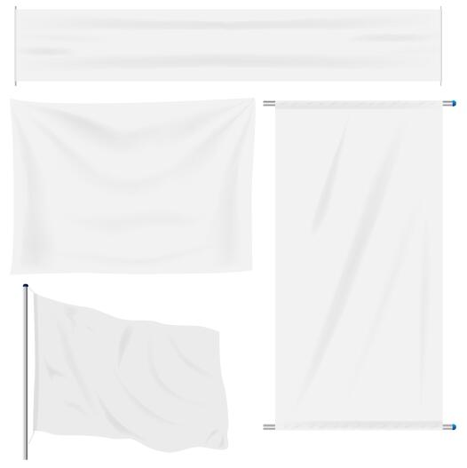 White flag design vector set 02