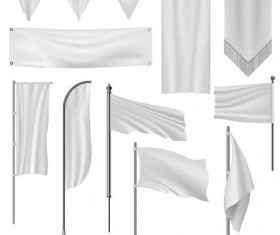 White flag design vector set 03