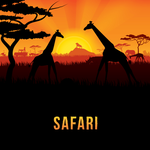Wild animal with africa background vector