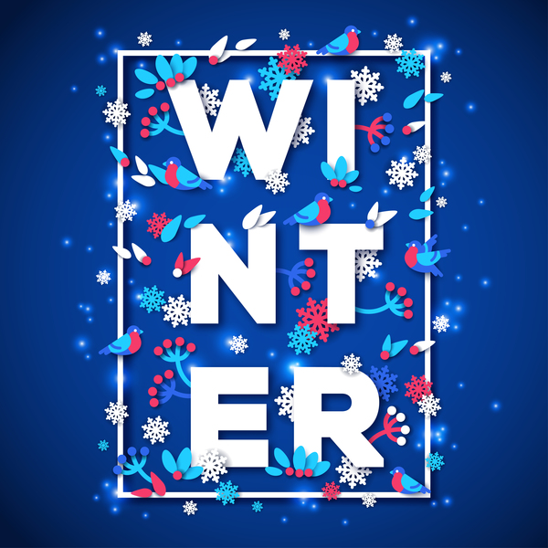 Winter blue background vector